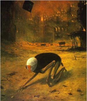 Zdzisław-Beksiński-1976-pełzająca-śmierć-oryginał-obrazu